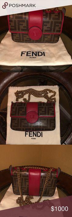 7160c71ee4fd Authentic FENDI Zucca Spalmati Mini Double F Bag Fendi signature FF Zucca  canvas in tobacco brown