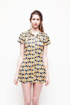 Vintage Retro Mod Geometric Pattern 90's Dress Size by sopasse