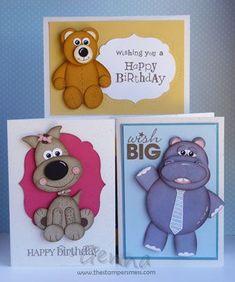 Bear, Hippo, Dog Punch Art #Stampinup #punchart