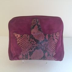 Maud Frizon suede and python clutch by CallMeMadame on Etsy