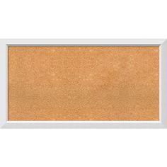Framed Cork Board, Choose Your Custom Size, Blanco White Wood (51 x 27-inch), Tan