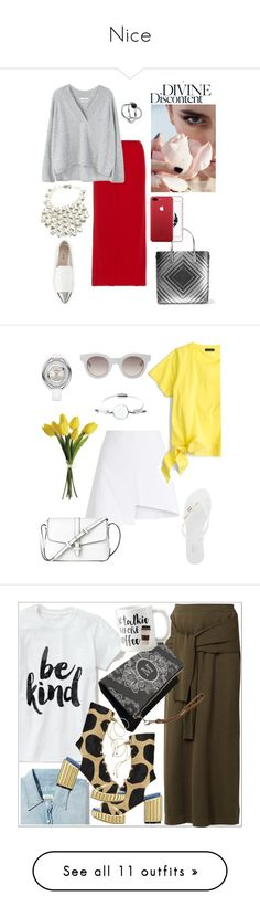 """""""Nice"""" by gatocat ❤ liked on Polyvore featuring Allude, MANGO, Anya Hindmarch, Paco Rabanne, Miu Miu, Sun Buddies, WÃ¥ven, J.Crew, Skagen and Melissa"""