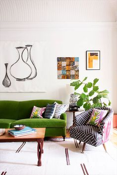 a colorful, eclectic living room in brooklyn   domino.com