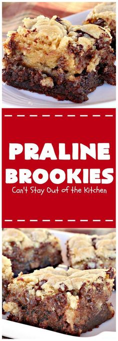 Praline Brookies - this outrageous dessert has a brownie layer, a praline layer & topped with a MrsFields chocolate chip cookie dough layer. Brownie Recipes, Cookie Recipes, Dessert Recipes, Bar Recipes, Betty Crocker Fudge Brownies, Praline Cake, Pancakes, Waffles, Tandoori Masala