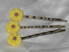 Trio of Sunflower Bobby Pins Antique Bronze by FeedYourNeedDesigns, $5.00