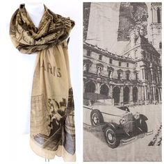 """B510 Old World Paris City Brown & Black Scarf ‼️PRICE FIRM‼️   Paris Theme Scarf  Retail $58   100% polyester.  Please check my closet  for many more items including jewelry, scarves, designer clothing, handbags shoes & more!  35"""" wide  68"""" long Accessories Scarves & Wraps"""
