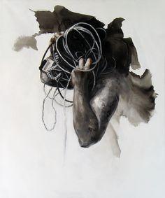 "Xavier Jallais - ""Autographie - Ash, sand, acrylic & oil on canvas, 100 x 120 (cm) Chef D Oeuvre, 2d Art, Ash, Artwork, Painting, Character, Canvas, Radiation Exposure, Contemporary"