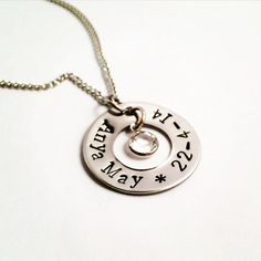 This beautiful piece is the perfect present for any mum. Get your childs name and date of birth hand stamped along with their birthstone. Alternatively, have the name of the one you love along with a special date and a crystal colour of your choice. All stainless steel and swarovski chanel charm.