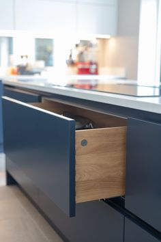 Solid Oak dovetail drawers are what we do at Planet Furniture. Hand made and built to last! Contemporary Kitchen Cabinets, Dovetail Drawers, Kitchen Furniture, Solid Oak, Bespoke, Diy And Crafts, Kitchen Design, Kitchens, Sweet Home