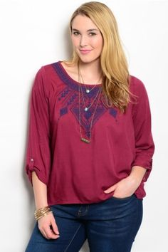 Plus Size Wine Tribal Embroidered Top