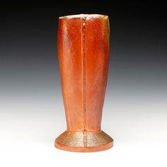 Randy Johnston | Oval Vase with Skirt | wood fired, stoneware, shino glaze | 15x6.5x6.5