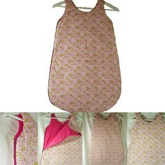 Nouveauté sur la boutique, une gigoteuse printanière en coton blanc avec des petites fleurs roses et vertes imprimées