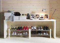 It's raining shoes! TJUSIG shoe racks hold 6 pairs and can be stacked to accomodate your collection.