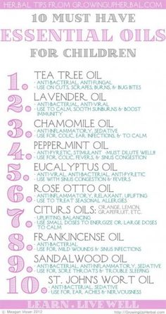 Essential oil uses for kids, start with the cheapest and most versatile oils first eg. tea tree and lavender. :)