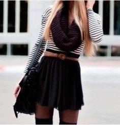 long sleeved stripy top, black scarf, black a-line short light skirt, black tights and black thigh-high socks