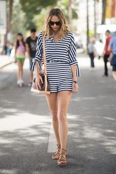 Blue and white stripes with brown accessories