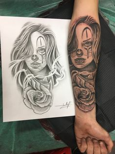 Dia Delos Muertos Tattoos for Men Clown Face Tattoo, Face Tattoos, Forearm Tattoos, Body Art Tattoos, Girl Tattoos, Sleeve Tattoos, Tattoos For Guys, Chicanas Tattoo, Tattoo Drawings
