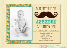 Little Man Mustache Invitation Baby Boy Retro by DesignBugStudio