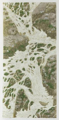 Cascade with Dippers.  by Janet Turner.  I did enjoy my etching classes with Janet Turner.  She was very into nature, especially birds.  Very intricate work.