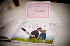 Want a guest book you'll actually look at again? Create a photo book of your engagement photos for guests to sign. Absolutely LOVE this idea.