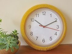 wall clock cover IKEA hack hand knitted by BabanCat on Etsy