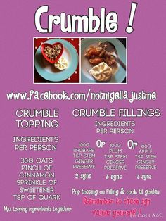 SW Crumble Slimming World Deserts, Slimming World Puddings, Slimming World Diet Plan, Weight Watcher Dinners, Weight Watchers Desserts, Cooking Recipes, Lunch Recipes, Yummy Recipes, Cake Recipes