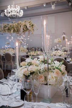 Small Wedding Centerpieces, Wedding Decorations, Table Decorations, White Flower Arrangements, Romantic Dinners, Wedding Receptions, White Decor, Luxury Wedding, White Flowers