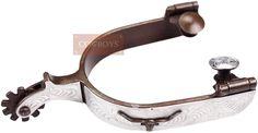 """Espora Antique Antique Brown Longhorn Roping Spurs 238435   Espora em aço, importada modelo Antique Brown Longhorn Roping Spurs, level 2, garfo (3/4"""" 1,90cm), reseta 10 pontas e cão (1-1/2"""" 3,81cm)."""