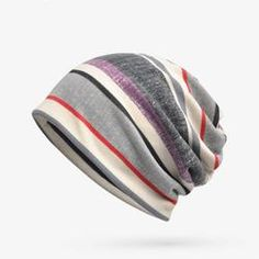 08401211154 Women Mens Soft Breathable Stripe Beanies Cap Multifunction Collar Scarf is  hot sale on Newchic.
