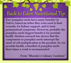 Back to Eden Nutritional Tip - What are Raw Pumpkin Seeds good for? - {www.edenwellness.org}