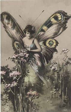 Butterfly Lady #2 - Hand Colored Real Photo Postcard by Photo_History, via Flickr