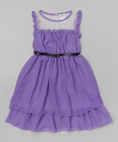 Look what I found on #zulily! Lavender Ruffle Belted Layered Dress - Girls by Littoe Potatoes #zulilyfinds