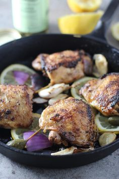 Pan Roasted Chicken with Lemon Caper Berries and Roasted Garlic - Cooking for Keeps Best Chicken Dishes, Chicken Recipes, Great Recipes, Dinner Recipes, Favorite Recipes, Chef Recipes, Dinner Menu, Roasted Garlic, Roasted Chicken