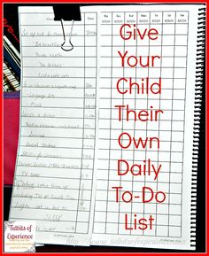 Give Your Child Their Own To-Do List  - http://www.tidbitsofexperience.com/give-your-child-their-own-to-do-list/ Life as I'm living it