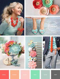 Coral, Blush, Mint, Grey