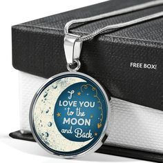 I Love You to the Moon and Back Pendant Gift for Sweetheart Valentine'S Day Birthday Necklace Working Mother, Working Moms, Personalized Family Gifts, Valentines Day Birthday, Glass Coating, I Love You, My Love, Free Boxes, Custom Engraving