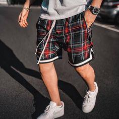 Casual Plaid Print Paneled Self-tie Side Pockets Half-length Pants – maxgonia Loose Pants, Cropped Pants, Men's Pants, Street Outfit, Street Wear, American Retro, Retro Mode, Beach Casual, Type Of Pants