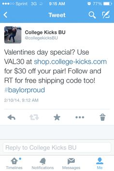 Ready for a Valentines day special? Use code VAL30 at shop.college-kicks.com for $30 off your pair! Comment below for a free shipping code too! #sicem #baylorproud
