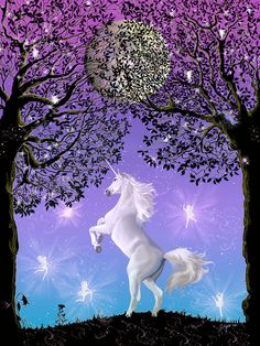 Dancing in the Moonlight unicorn full moon by DelightsFantasyArt