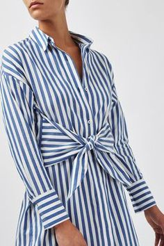 Stripe Tie-Front Dress by Boutique