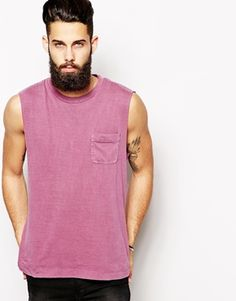 ASOS Sleeveless T-Shirt With Vintage Look Pigment Wash