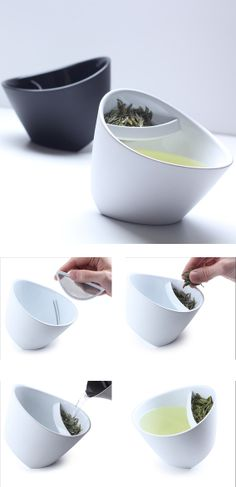 Tilting tea cup with infuser
