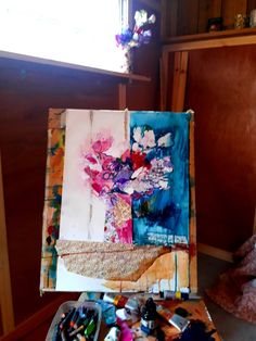 #sweetpeasinajug #sweetpeas_in_a_jug #mixedmediapainting #flower_painting #workshop #artist–workshop #mixedmedia #originalart #ainedivine #blue #pink #stilllife #still_life