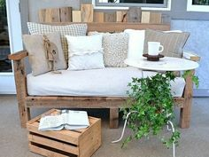 Kaffeetisch Holz selber bauen Paletten Möbel Balkon