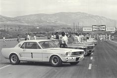 (Photo by Dave Friedman courtesy of the Ford Racing Archives) Riverside, California, September 18, 1966. Cars lined-up before the start of the four-hour Riverside Trans-Am Sedan Championship race. In the foreground and on the pole was the No. 1 Ford Mustang driven by Jerry Titus. Titus drove solo that day and won the race - the seventh round of the inaugural year of the series - by a 48-second margin.   www.fordimages.com