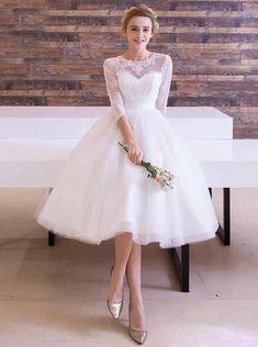 Lace Tea Length Dress, Tea Length Wedding Dress, Tea Length Dresses, Dress Lace, Outdoor Wedding Dress, Elegant Wedding Dress, Modest Wedding Dresses, Reception Dresses, Wedding Reception