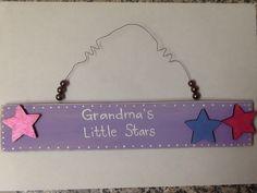 Grandma's Little Stars, paint the children's names on the stars, wooden plaque