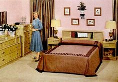 My parents had this exact headboard. I remember trying to slide the doors in the little grooves.