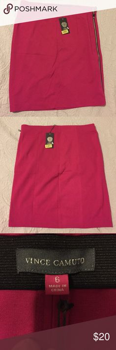 NWT Vince Camuto Skirt Vince Camuto skirt- size 6. Color is Hot Azalea. It's a stretchy, rayon, nylon, spandex blend. Full zip on side. Great condition, never worn. The price tag is gummy from sales stickers removed. Vince Camuto Skirts Midi