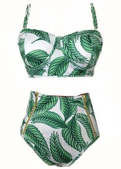 Green High Waist Printed Strappy Two Piece Swimwear on sale only US$24.87 now, buy cheap Green High Waist Printed Strappy Two Piece Swimwear at liligal.com